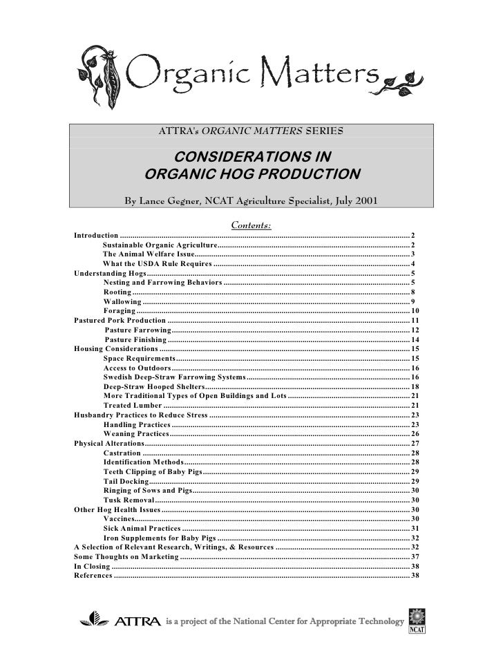 ATTRAs ORGANIC MATTERS SERIES                                  CONSIDERATIONS IN                               ORGANIC HOG...