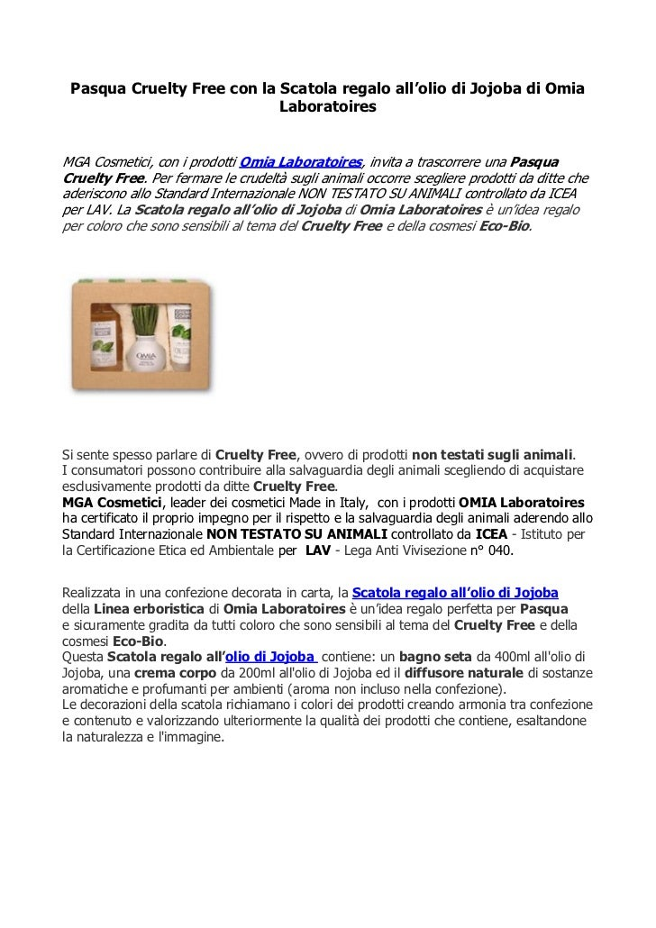 Pasqua Cruelty Free con la Scatola regalo all'olio di Jojoba di Omia                            LaboratoiresMGA Cosmetici,...