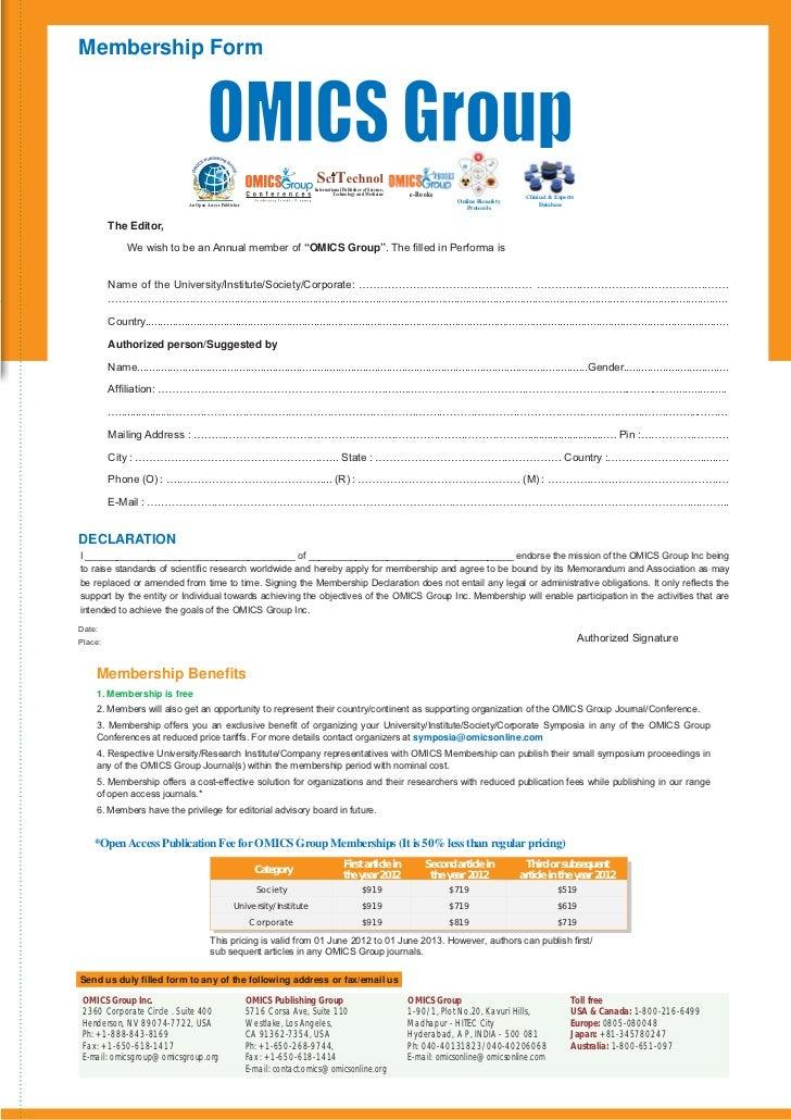 Membership Form                                                                                International Publisher of ...
