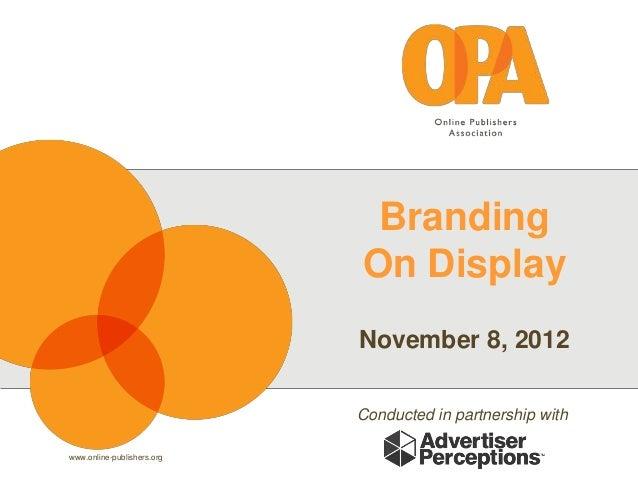 Branding                            On Display                            November 8, 2012                            Cond...