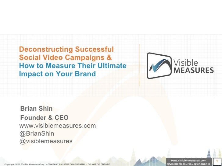 Deconstructing Successful Social Video Campaigns &  How to Measure Their Ultimate Impact on Your Brand <ul><li>Brian Shin ...