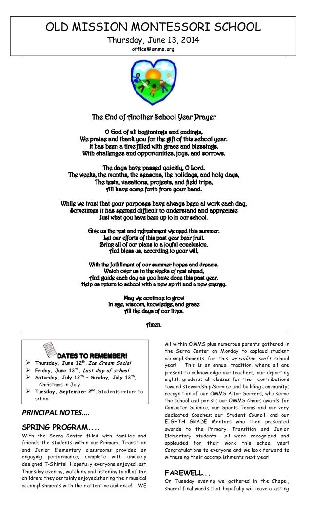 OMMS Parish School Bulletin 6-12-2014