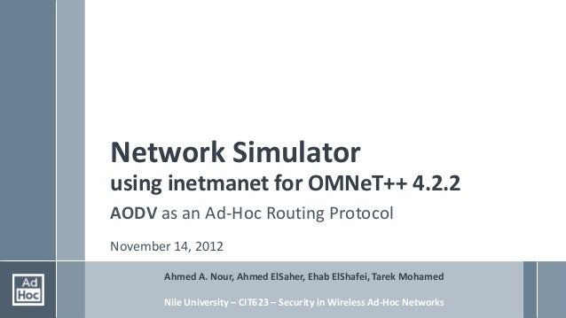 Network Simulatorusing inetmanet for OMNeT++ 4.2.2AODV as an Ad-Hoc Routing ProtocolNovember 14, 2012        Ahmed A. Nour...