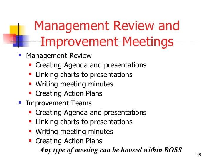 management review and improvement meetings ul li management review li
