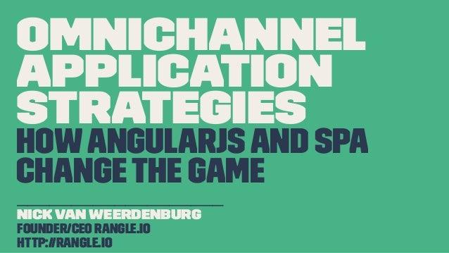 OmniChannel Application Strategies HowAngularJSand SPA ChangeThe Game ___________________ Nick Van Weerdenburg Founder/CEO...