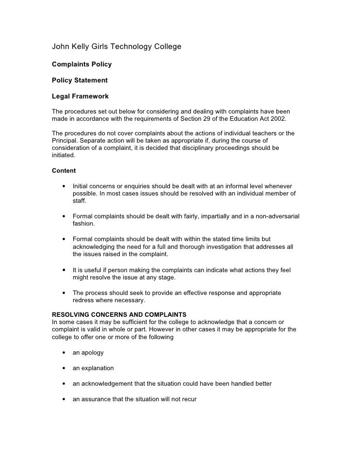 John Kelly Girls Technology College  Complaints Policy  Policy Statement  Legal Framework  The procedures set out below fo...