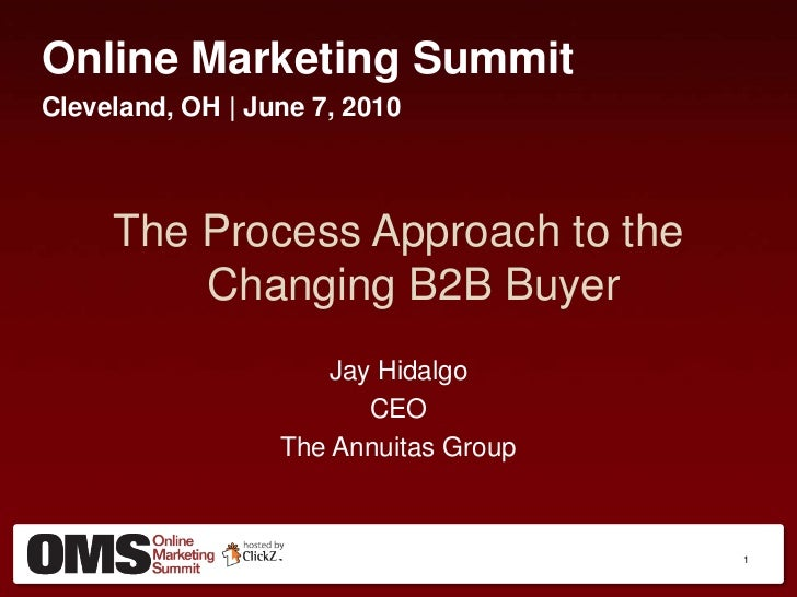 Online Marketing Summit<br />Cleveland, OH | June 7, 2010<br />The Process Approach to the Changing B2B Buyer<br />Jay Hid...