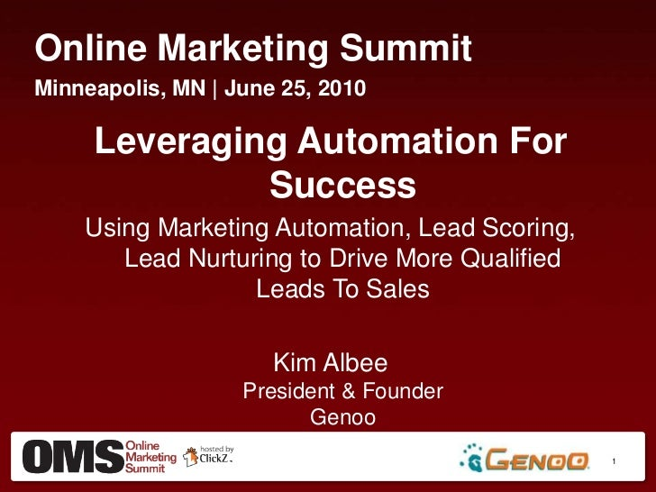 Online Marketing Summit<br />Minneapolis, MN | June 25, 2010<br />Leveraging Automation For Success<br />Using Marketing A...