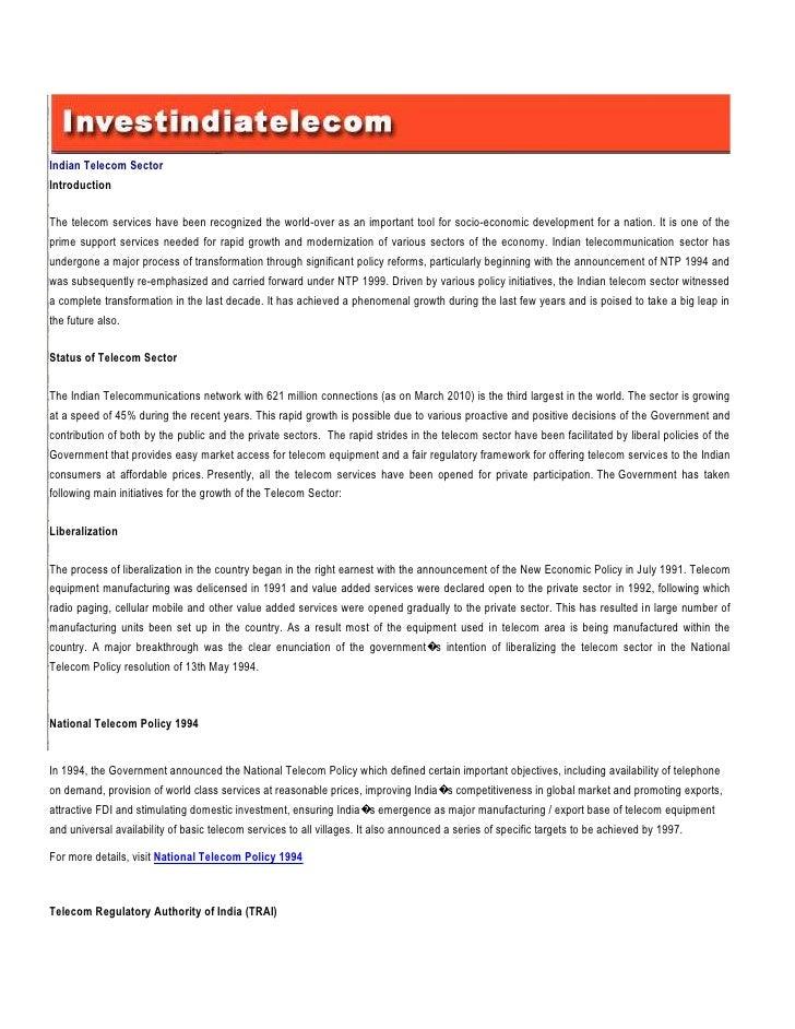 IntroductionStatus of Telecom SectorLiberalization SectorIndian TelecomNational Telecom Policy 1994IntroductionTelecom Reg...