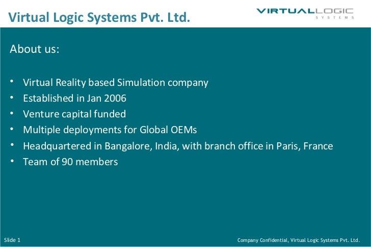 <ul><li>About us: </li></ul><ul><li>Virtual Reality based Simulation company  </li></ul><ul><li>Established in Jan 2006 </...