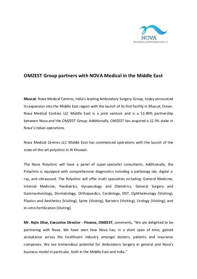 OMZEST Group partners with NOVA Medical in the Middle East  Muscat: Nova Medical Centres, India's leading Ambulatory Surge...