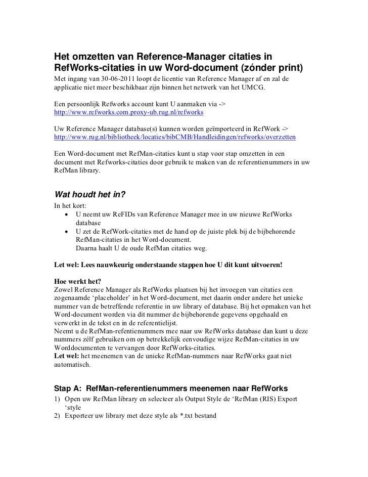 Het Omzetten van Reference Manager citaties naar RefWorks citaties in uw Word-documenten (zónder print)