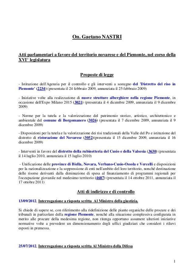 On. Gaetano Nastri attività legislativa sul territorio e nel complesso copy