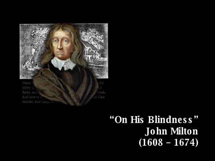 On His Blindness John Milton
