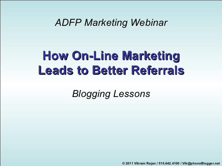 ADFP - Blogging webinar