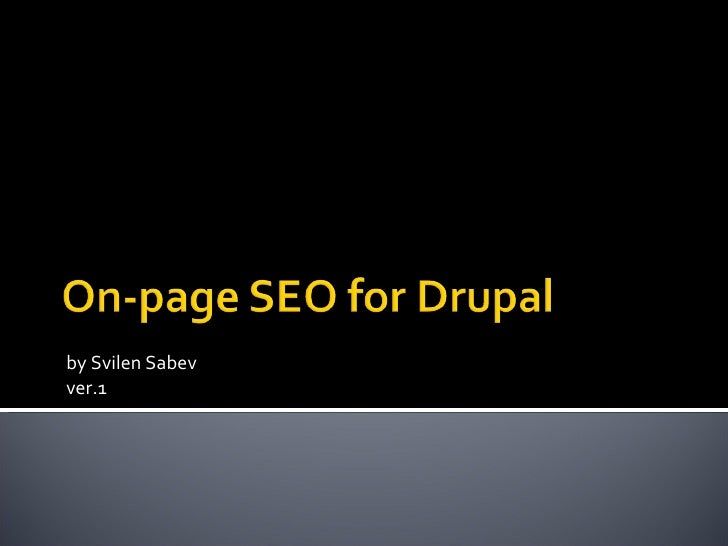 On-page SEO for Drupal