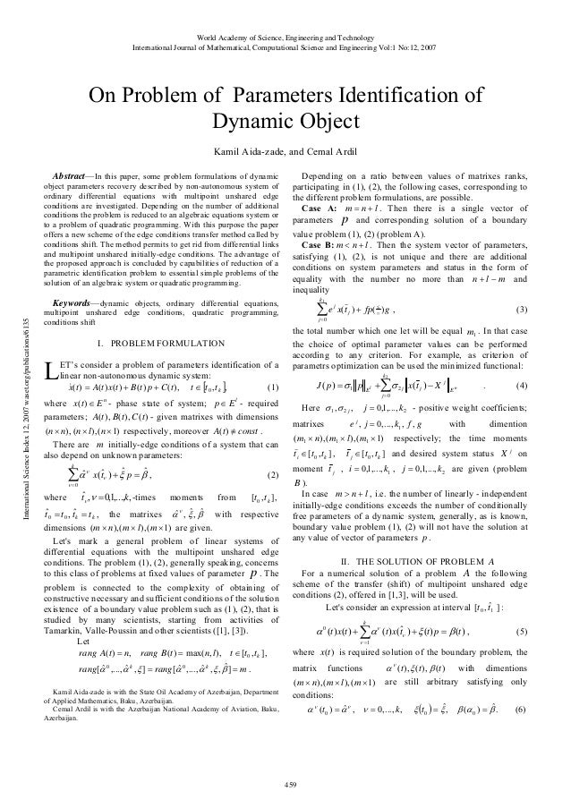 On problem-of-parameters-identification-of-dynamic-object