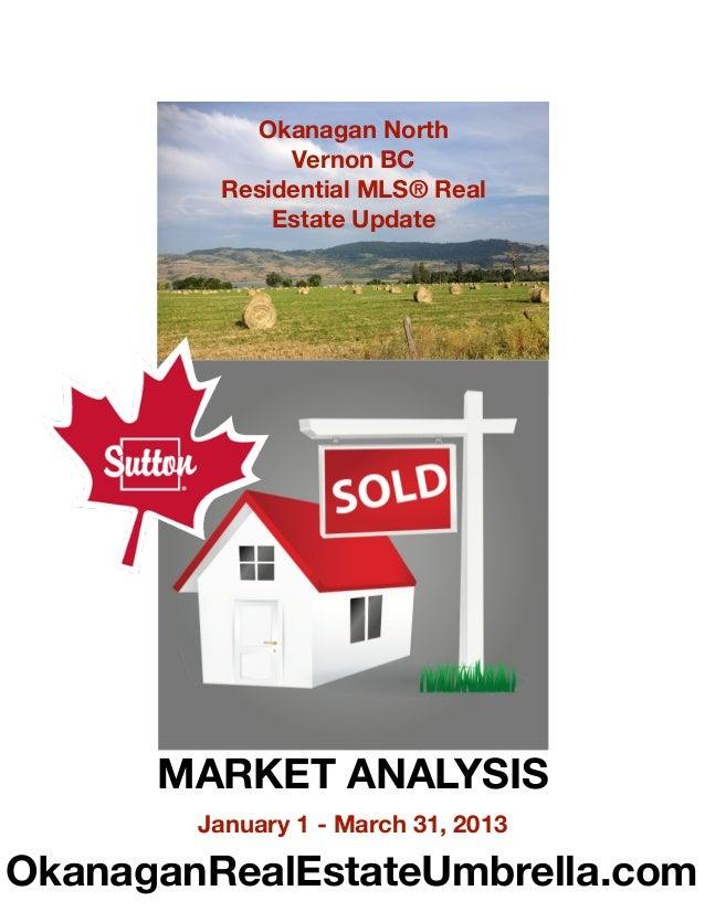 Okanagan North              Vernon BC         Residential MLS® Real             Estate Update      MARKET ANALYSIS        ...