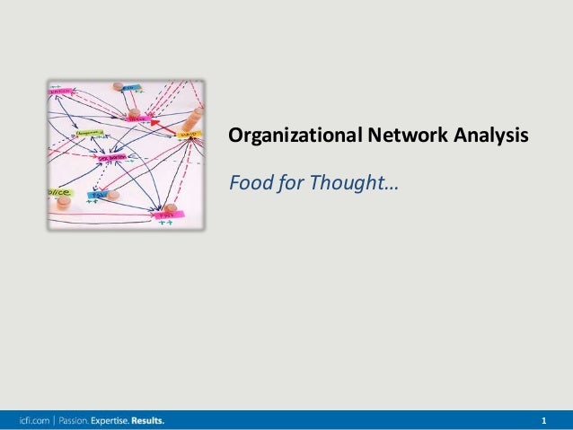 1 Organizational Network Analysis Food for Thought…