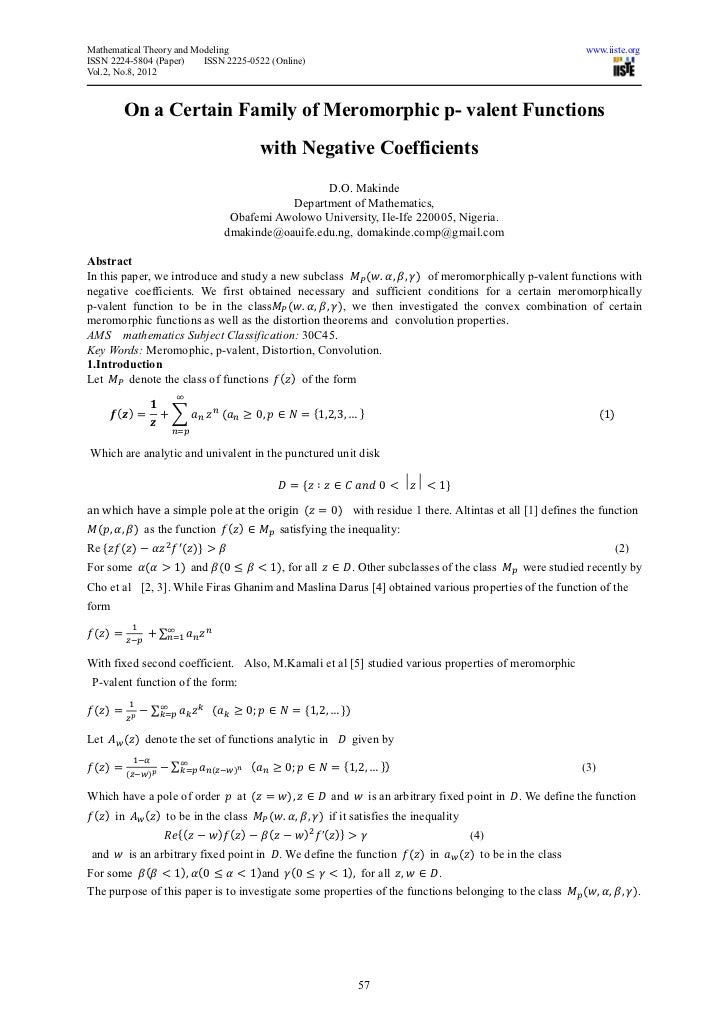 Mathematical Theory and Modeling                                                                                          ...