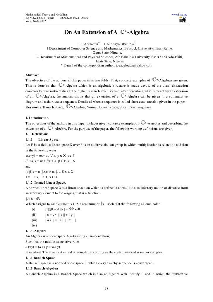 Mathematical Theory and Modeling                                                                           www.iiste.orgIS...