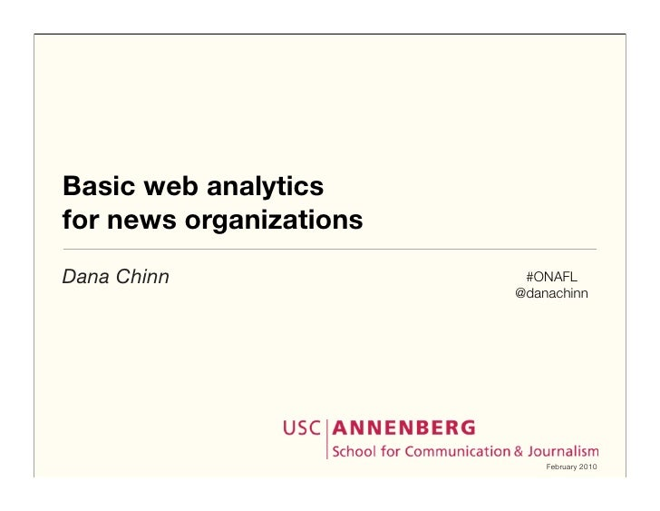 Basic web analytics for news organizations