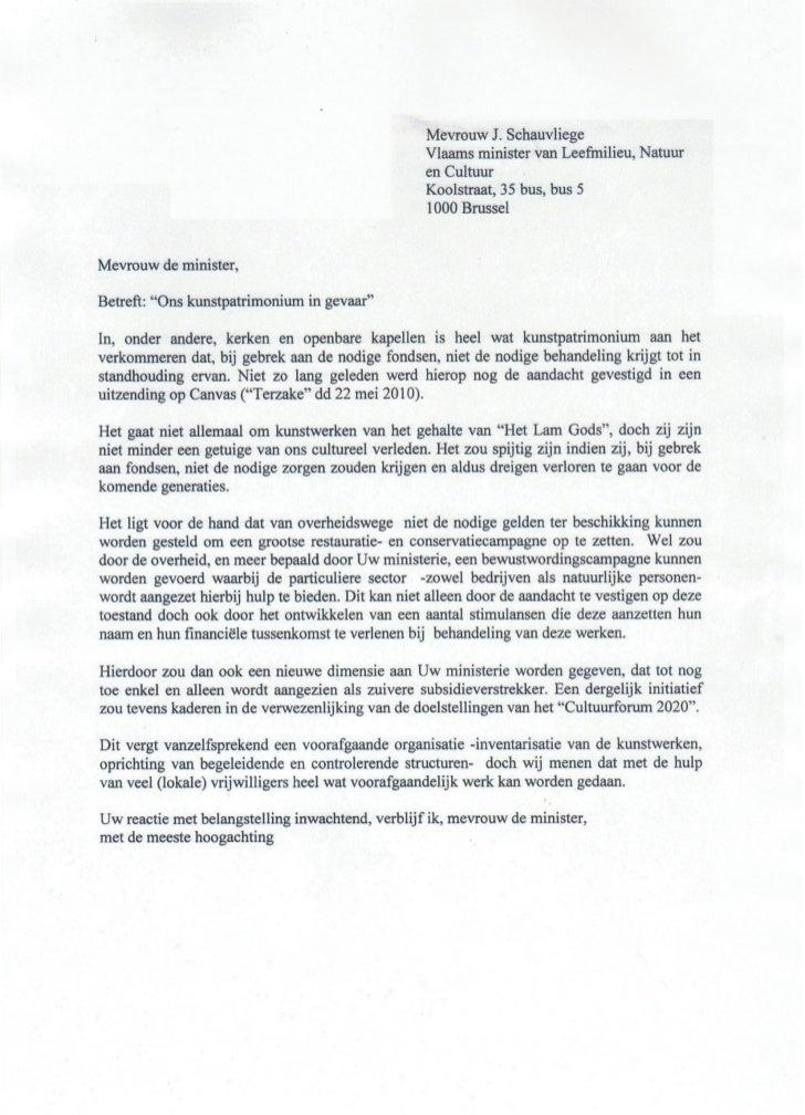 Brief naar Mevrouw de Minister van Cultuur