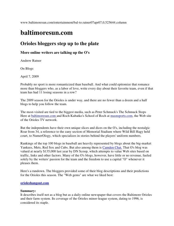 www.baltimoresun.com/entertainment/bal-to.ratner07apr07,0,525644.column<br />baltimoresun.com<br />Orioles bloggers step u...