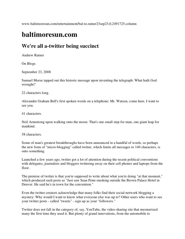 """On blogging"" column"