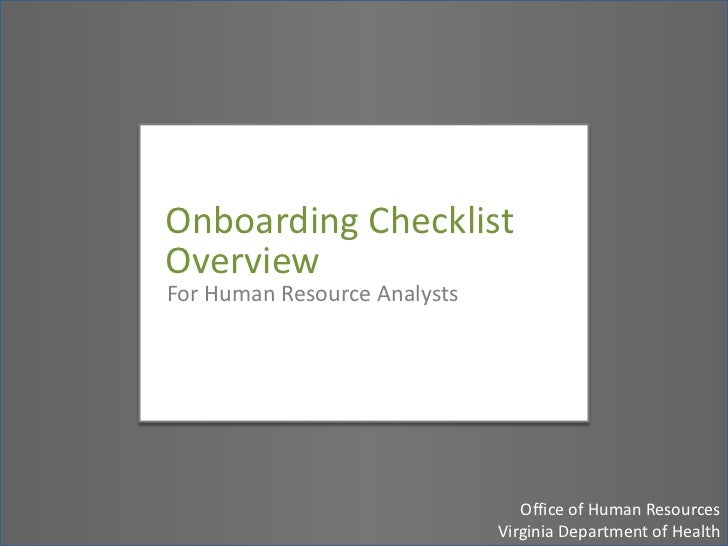 Onboarding Checklist Overview: Human Resource Representatives
