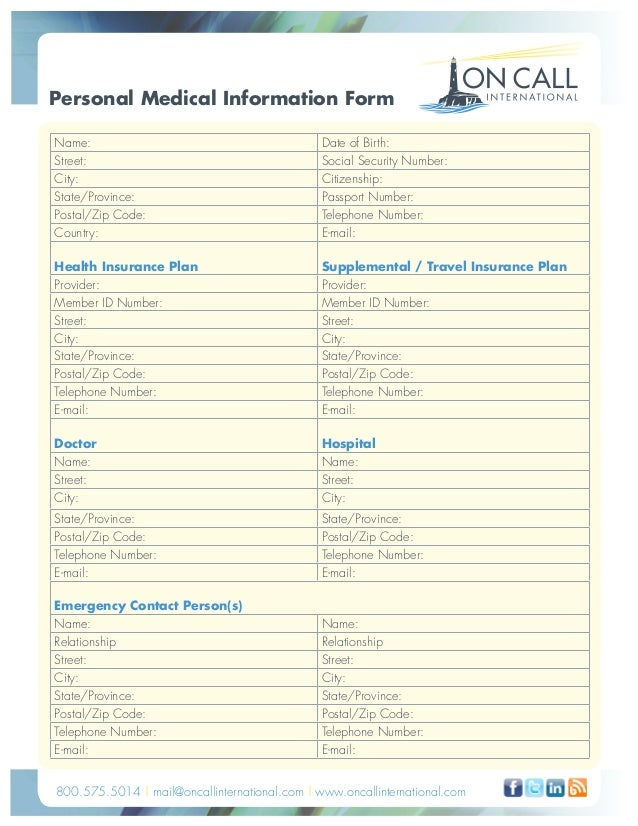 Personal Medical Information Form