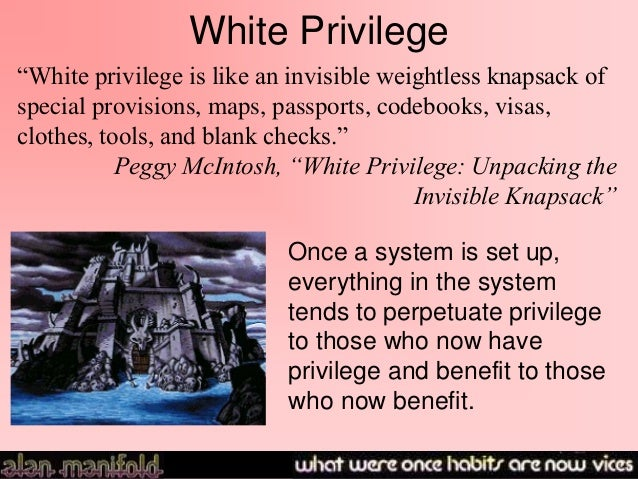 peggy mcintosh s white privilege White privilege: unpacking the invisible knapsack by peggy mcintosh white privilege and male privilege: a personal account of coming to see correspondences through work in women's studies (1988), by peggy mcintosh.