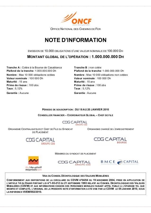 OFFICE NATIONAL DES CHEMINS DE FER NOTE D'INFORMATION ÉMISSION DE 10.000 OBLIGATIONS D'UNE VALEUR NOMINALE DE 100.000 DH M...