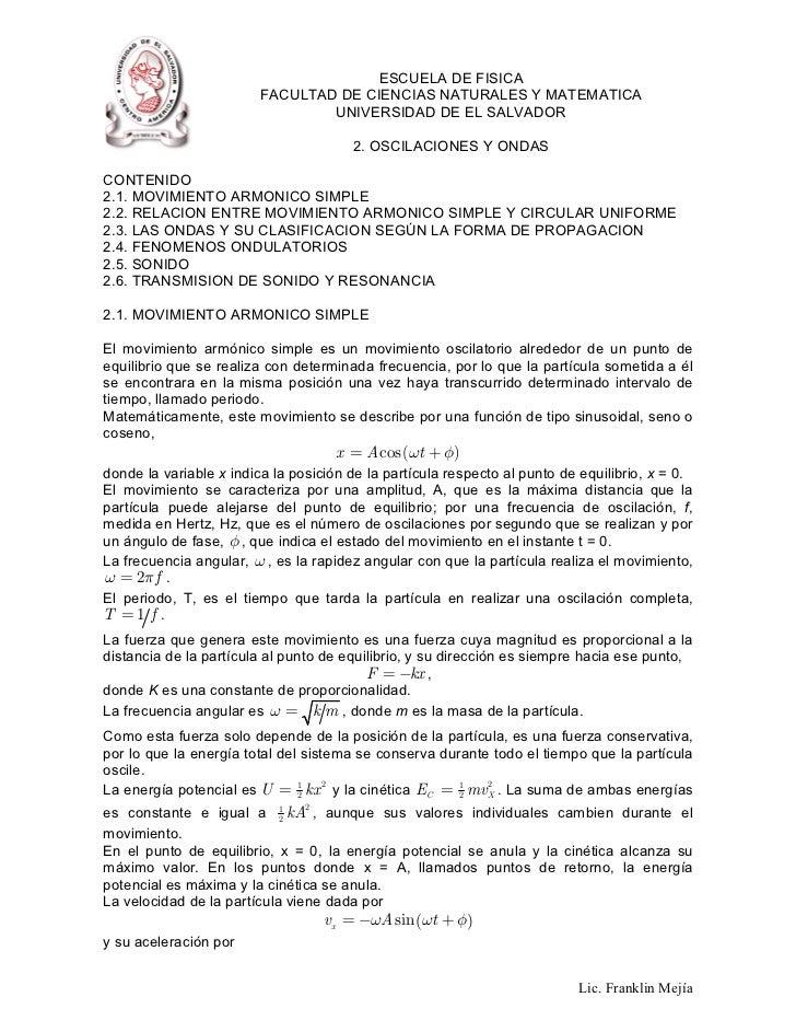 ESCUELA DE FISICA                         FACULTAD DE CIENCIAS NATURALES Y MATEMATICA                                 UNIV...