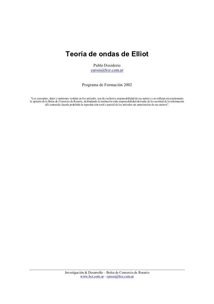 Teoría de ondas de Elliot                                                       Pablo Desiderio                           ...