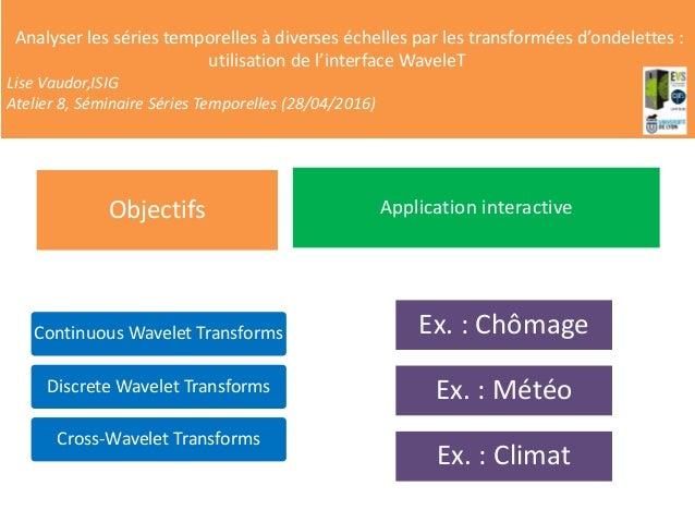 MENU PRINCIPAL Continuous Wavelet Transforms Discrete Wavelet Transforms Cross-Wavelet Transforms Objectifs Application in...
