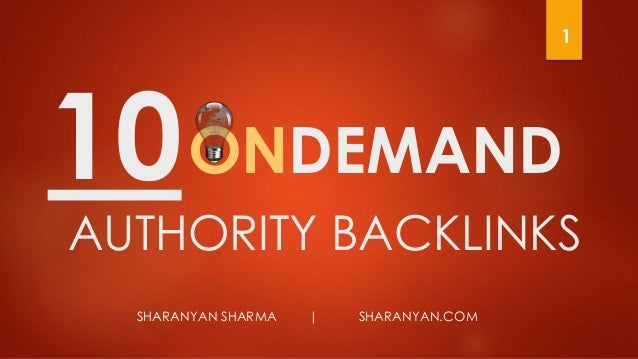 ONDEMAND SHARANYAN SHARMA | SHARANYAN.COM AUTHORITY BACKLINKS 10 1