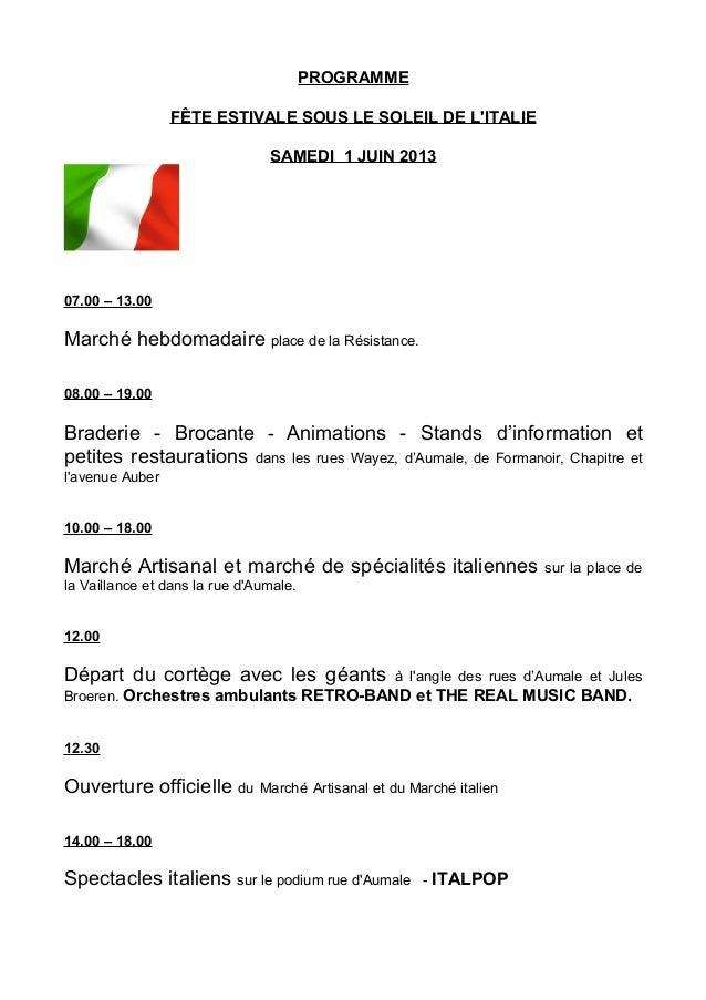 Onder Een Italiaanse Zon - Anderlecht Centrum - 01 juni 2013 - programma