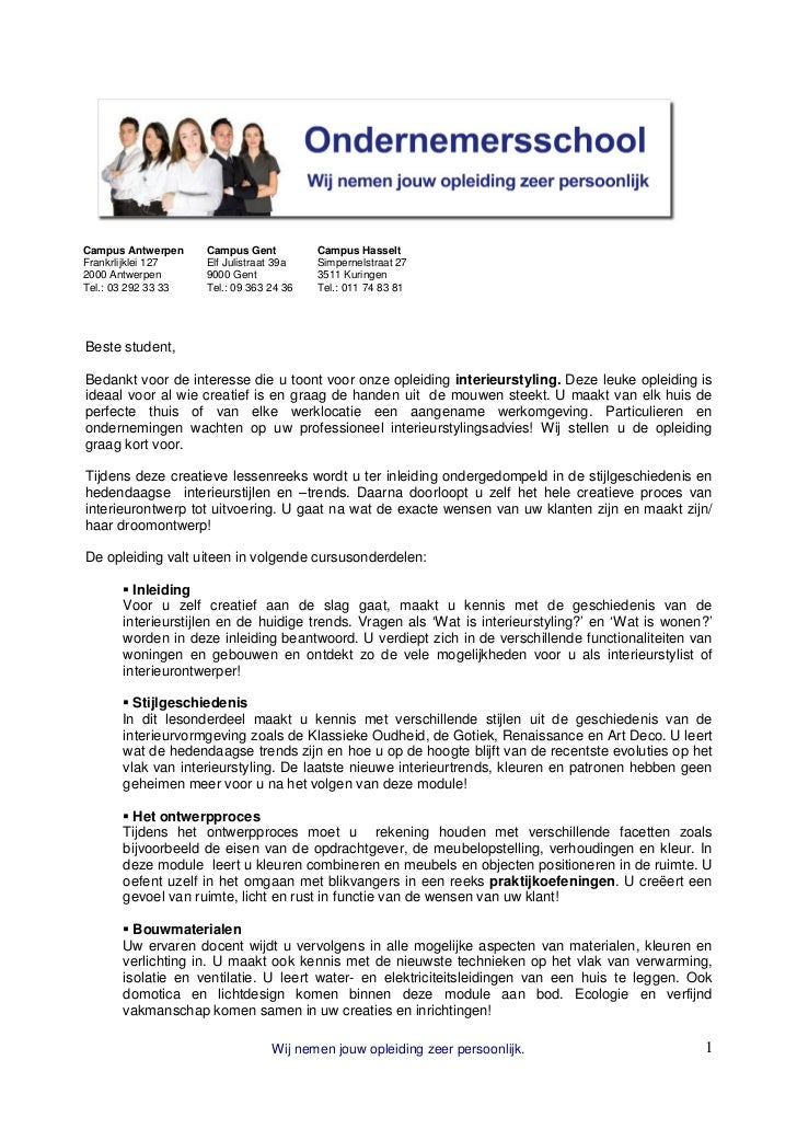 Ondernemersschool Interieurstyling