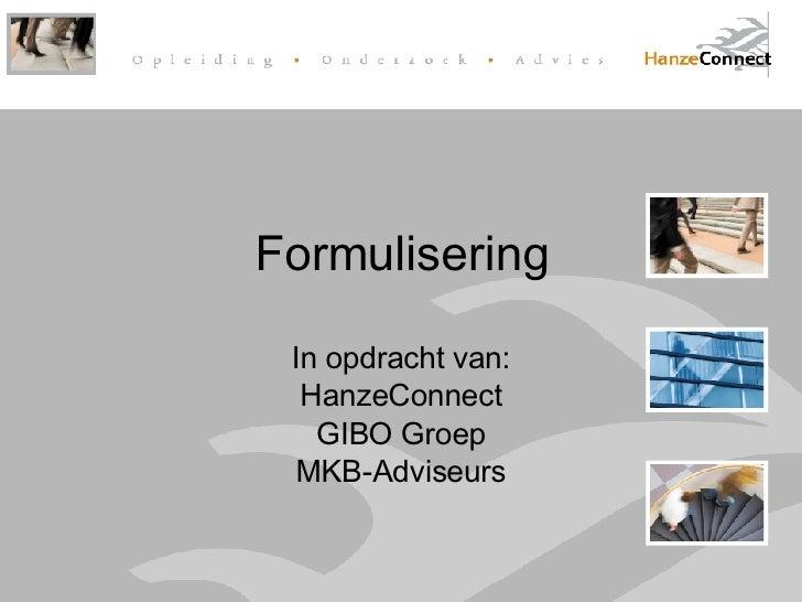 Onderzoek Formulisering HanzeConnect