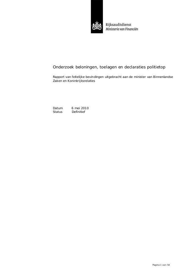 Onderzoek beloningen, toelagen en declaraties politietop Rapport van feitelijke bevindingen uitgebracht aan de minister va...