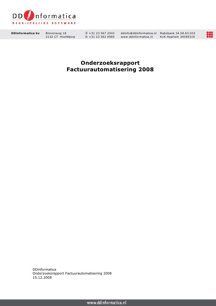 Onderzoek I File Factuur Onderzoeksrapport Factuurautomatisering 2008