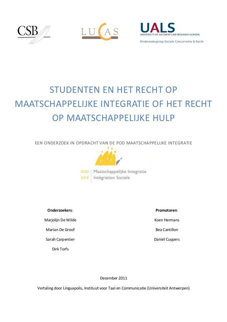 onderzoeksrapport Studenten en bijstand