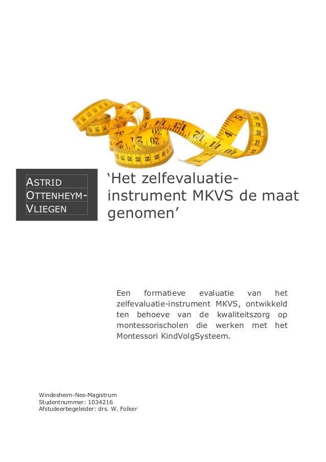 ASTRID OTTENHEYMVLIEGEN  'Het zelfevaluatie-  instrument MKVS de maat genomen'  Een formatieve evaluatie van het zelfevalu...