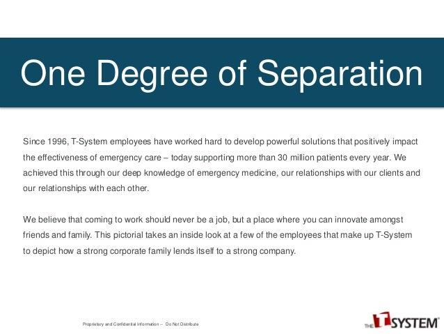 Degree Separation One Degree of Separation