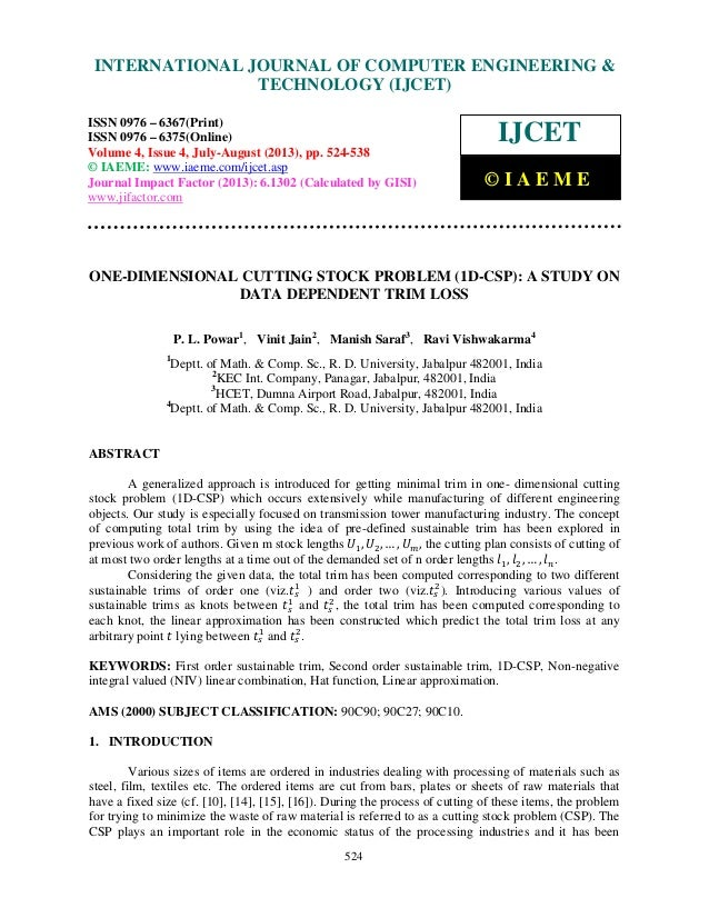 One dimensional cutting stock problem  1-d-csp_ a study on data dependent tri