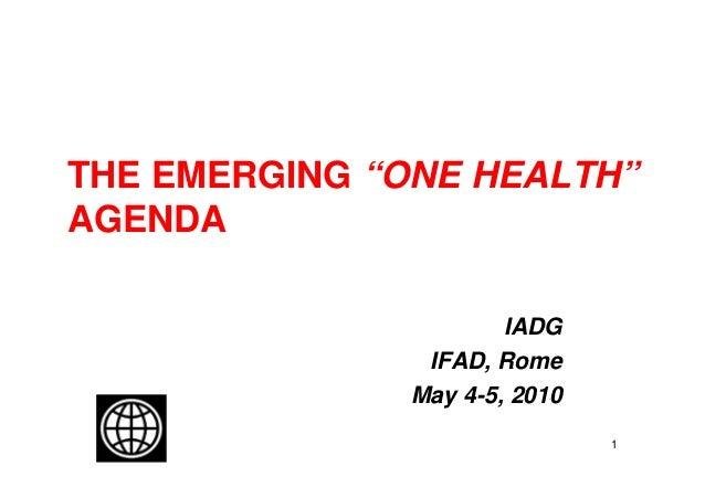 "THE EMERGING ""ONE HEALTH""AGENDA                       IADG                IFAD, Rome               May 4-5, 2010          ..."