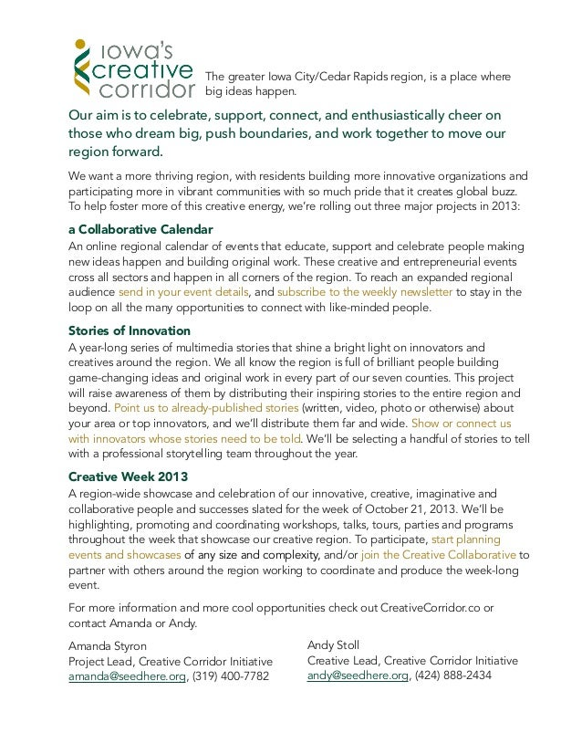 Creative Corridor One Page Info Sheet - 2013 Projects