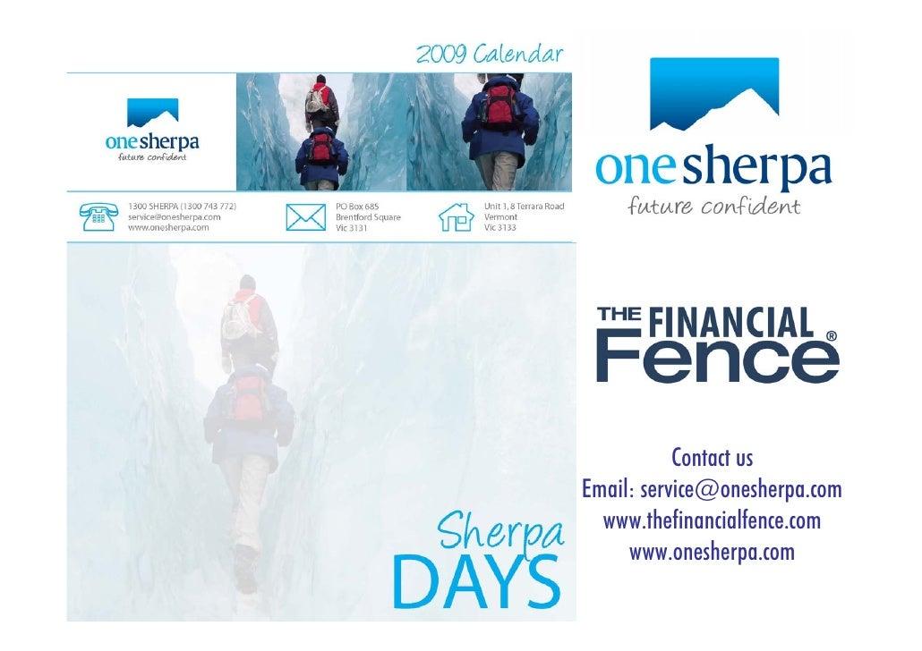 Contact us Email: service@onesherpa.com   www.thefinancialfence.com      www.onesherpa.com