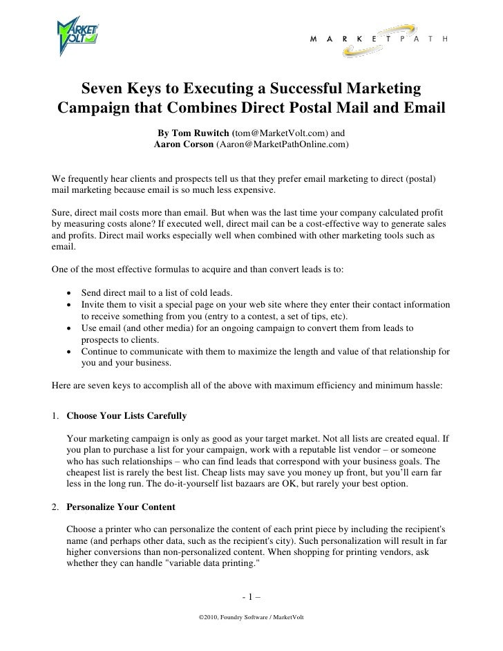 Seven Keys to Executing a Successful Marketing  Campaign that Combines Direct Postal Mail and Email                       ...